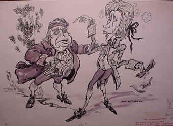 various cartoons from punch magazine and theatre archives
